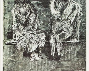 HENRY MOORE - 'Shelter sketchbook' - vintage offset lithograph - c1974 (important 20th Century English artist)