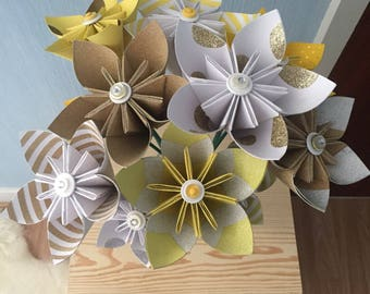 Origami kusudama paper flowers, yellow, white and gold themed paper flowers, home decor