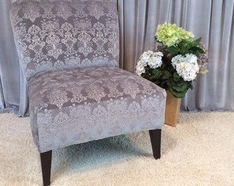 Exclusive Quality Silver Gray Embossed Velvet Slipcover, Chair Cover For  Armless Chair, Slipper Chair