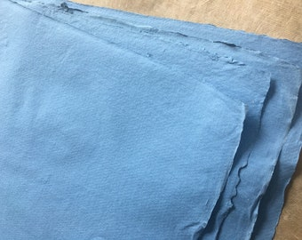 10 pcs 10 x 7.5 inch Blue Cotton Rag Khadi paper, approx 25 x 18cm 8 x 10inch Indian handmade paper for watercolor charcoal oils pastel