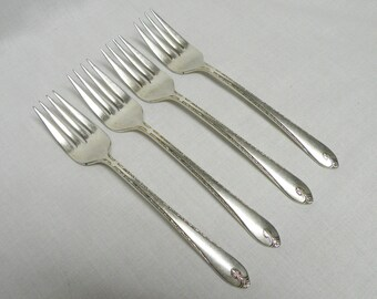 Wm Rogers Silverplate Forks, Exquisite 1940 - Set of 4 Salad Forks - Flatware Replacements, Holiday Flatware, Tea Parties, Craft Lot