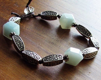 Lexi Flower Amazonite Bracelet Featuring Tibetan Silver Flower Beads