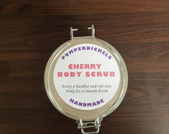 Cherry Body Scrub with Dried Rose Petals in Glass Jar