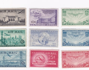 Mint 1930s-40s US Airmail Postage Stamps With China Clipper Series