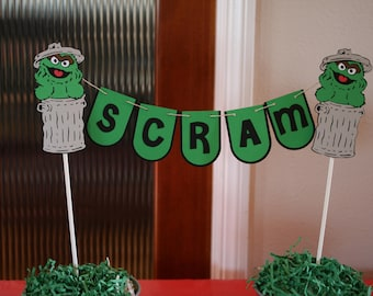 Oscar the Grouch cake banner, Oscar candy table decoration, Oscar the Grouch cake topper