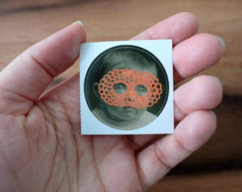 Original Dada Masked Baby Round Vinyl Sticker Art Collage, Orange Label Of A Vintage Portrait Photography Altered Using Posca Pens