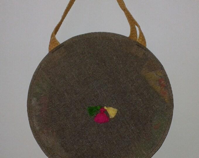handbag fabric multicolor, Brown, round bag, beach, shopping, leisure, large bag, tassels, trend,