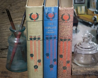 Set of Three Hard Cover Antique Books, Shabby Decor, Display, Collection, Photo Props, Red, Blue, Olive Khaki