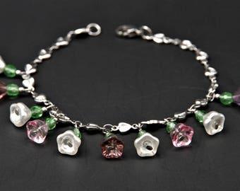 Charm bracelet, flower charm bracelet, pastel bracelet, Dainty flower bracelet, heart bracelet, silver bracelet, bohemian glass beads, Bangle, boho