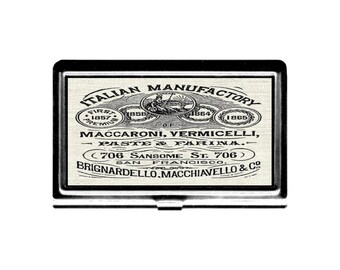 Business Card Case Pasta lover Vintage Italian Pasta Co ad San Francisco Credit Card Holder stainless steel card case metal wallet