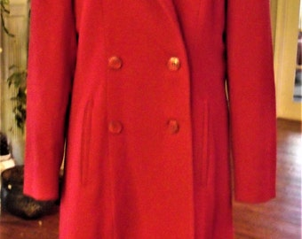 Red Wool Coat/ Retro Evan Picone Designer Coat/ Size 10 Holiday Red Double Breasted Coat/ Shabbyfab Couture