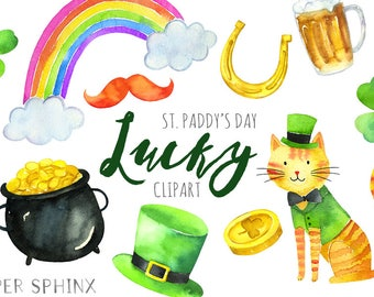 Watercolor St. Patty's Clipart | St. Patrick's Day Clip Art - Lucky Shamrock - Irish Clipart - Leprechaun, Pot of Gold - Instant Download