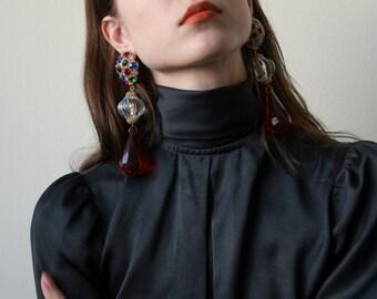 ornate dangle drop jewel earrings / long earrings / evening earrings / 1983a