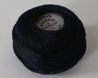 Size 8 Valdani solid black 1 Pearl cotton thread Ball - Hand dyed -