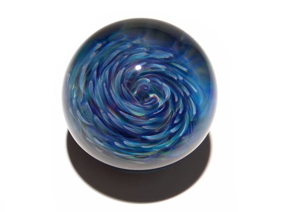 Marble - Orb - Blue Swirl - Glass Art - Spiral - Blown Glass - Home Decor - Handmade Gift - Ornaments - Desk Gift Ideas - Borosilicate