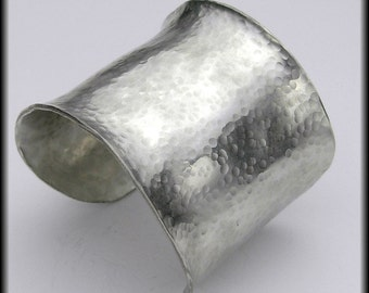 EGYPTIAN CUFF - Dramatic Handforged Hammered Wide Concave Pewter Cuff Bracelet