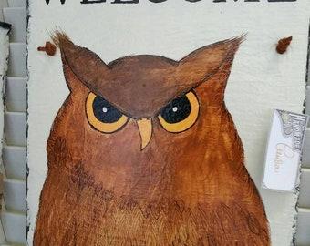 Handpainted owl slate