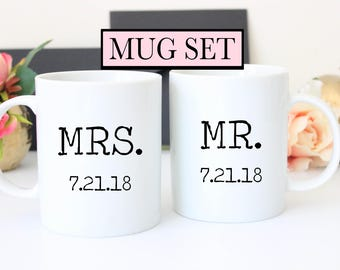 Mrs. and Mr. Wedding Date Set of Mugs // Wedding Mugs // Anniversary Gift // Wedding Gift