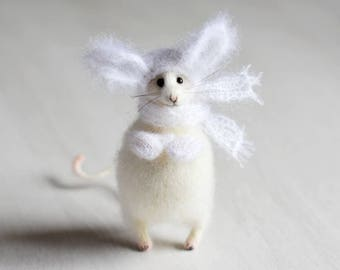 White mouse art doll stuffed animal fiber mouse toy needle felt plush mouse figurines rat home decor gift for her gift ideas Easter decor