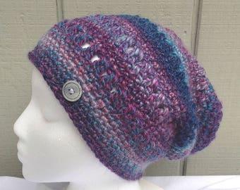 Alpaca mix beanie - Crochet slouchy hat - Alpaca blend hat - Teens accessories - Teens slouchy hat - Gift for women