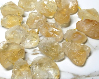 Citrine Beads 30 X 20mm Brazilian Hammered Cut Natural Translucent Free Form Dollops - 8 inch Strand
