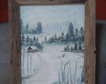 Oil painting of scenic snow scene