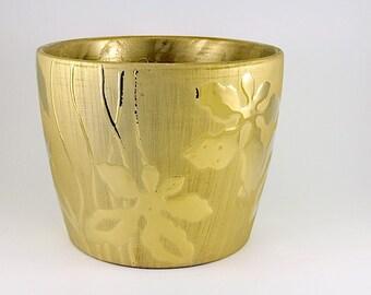 Vintage Gold-tone Indoor Metallic-look Plant Pot / Gold-tone Plant Pot / Floral Plant Pot / Tabletop Gardening / Indoor Planter / Flower Pot