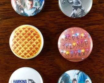 "The Upside Down Stranger Things 1"" Pins and Magnet set"