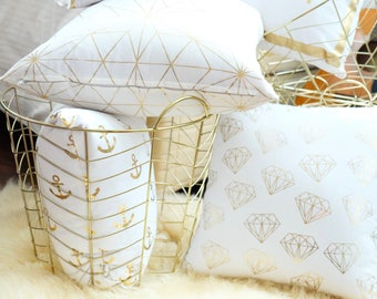 Gold Foil Geometric Cushion Cover Anchor / Boat / Diamond