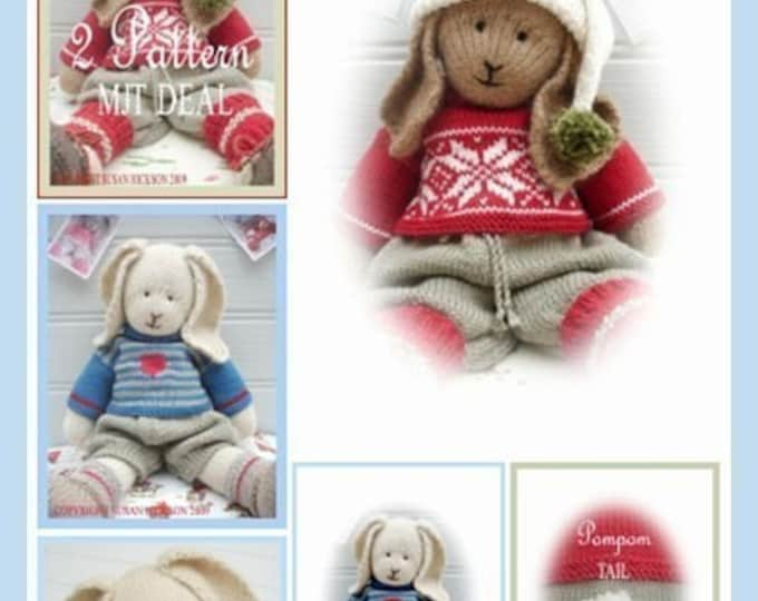 2 Bunny Knitting Patterns Deal/ Boy Bunnies / Bo & Oscar/ PDF Rabbit Toy Collection/ Plus Free Handmade Shoes Pattern/ INSTANT Download