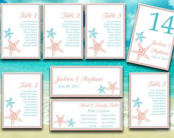 "Starfish Wedding Seating Chart Template - Printable Wedding ""Blissful Starfish"" Turquoise Coral Table Number Card - DIY Wedding Template"