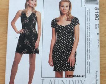 McCall's LAUNDRY by Shelli Segal Dress Pattern #8190 - Size 8 10 12 - UNCUT Pattern - printed 1996 - Empire Waist - Halter Dress