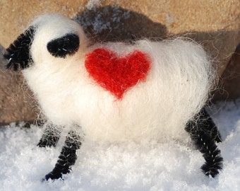 Felted Sheep Love Ewe, Love You, Felted Sheep, Needle Felted Wool Wrapped With Heart, Valentine's Day