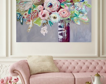 Original Painting,  EXTRA LARGE, FREE shipping, Canvas Art, Large Decor Art, Acrylic Abstract Art, Impressionism, Painting,  Floral Painting