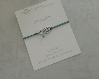 Pineapple bracelet, bracelet gift card, friendship bracelet, quote card bracelet, delicate bracelet, inspiration bracelet