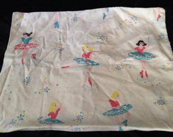 Vintage ice skating pillowcase