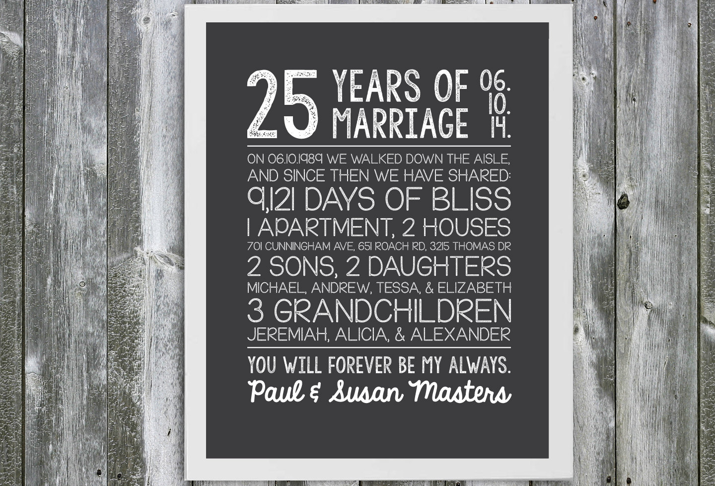 Anniversary Gifts Wedding: Customizable Anniversary Gift Marriage Stats 25 Year
