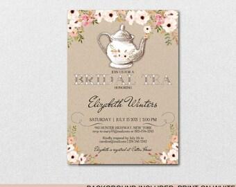 Bridal Shower Tea Party Invitation,Bridal Shower Invite, Vintage Wedding Shower Invitations,Wedding Printable,PDF Instant Download| VRD451AF