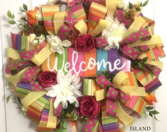 Welcome Deco Mesh Wreath, Summer Wreath, Spring Wreath, Spring Door Wreath, Welcome Wreath, Welcome Sign