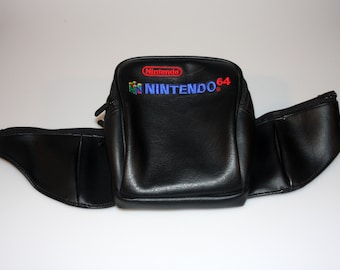 Nintendo 64 Embroidered Leather Style Padded / Insulated Fanny Pack Vintage 1990s