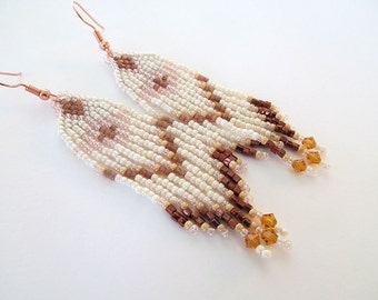 Beaded Indian Earrings, Neutral Colors, Native American Style, Fringe Earrings, Amber Glow, Rosegold, Southwestern Jewelry, moonlilydesigns