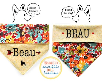 Personalized Stylish Reversible Dog Bandana (Crazy Daisy)