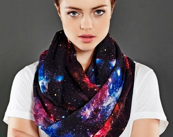 Galaxy Infinity Scarf Black Nebula Scarf Birthday Gift for Women Gift For Her Wife Winter Fashion Christmas gift Best Friend Cyber Monday
