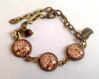 Bracelet cabochons retro and vintage tree of life Klimt, Tiger eye and leaf bead.
