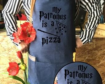 Harry potter Apron Pizza Jean apron Patronus is a Pizza Harry potter funny Harry Potter Kitchen Harrt potter Gift,