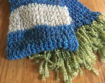 Blue and vanilla striped scarf with olive fringe