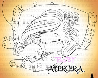 Digital stamp- 'BABY Aurora' 'Angel' - 300 dpi JPEG/PNG files -  MAC0087