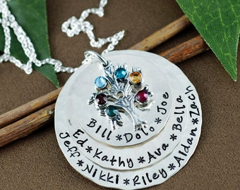 Grandma Necklace with Birthstones, Family Tree Birthstone Necklace,  Family Tree Nana Necklace, Tree of Life Necklace, Grandmother Necklace