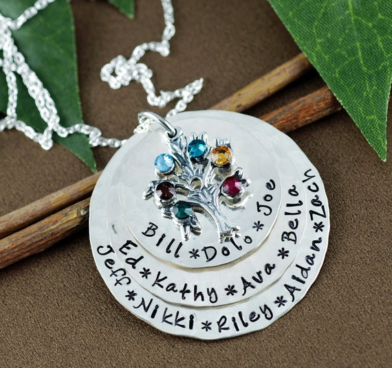 Grandma Necklace with Birthstones, Family Tree Birthstone Necklace,  Family Tree Nana Necklace, Tree of Life Necklace, Grandmother Necklace