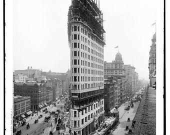 Vintage photograph-fine art black and white NYC Flatiron Building 1902 construction-fine print